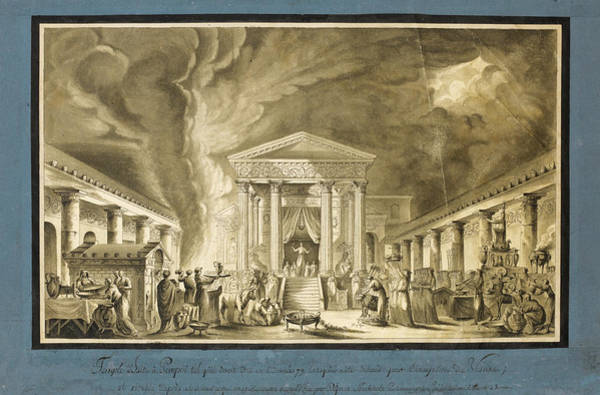 Night Time Drawing - A Night-time Ceremony Before The Temple Of Isis. Pompeii by Louis Jean Desprez