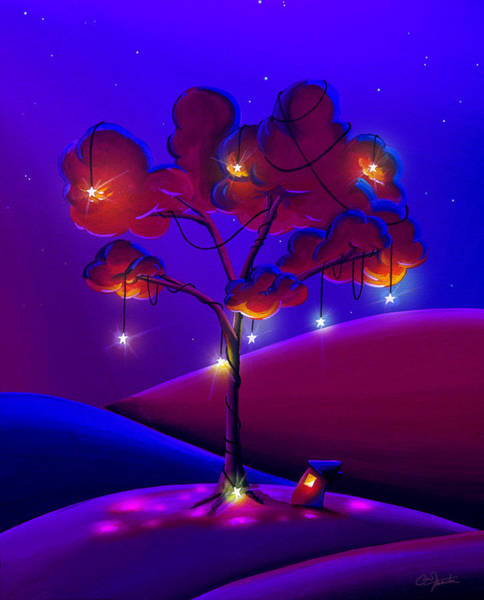 Wall Art - Painting - A Night Under The Stars by Cindy Thornton