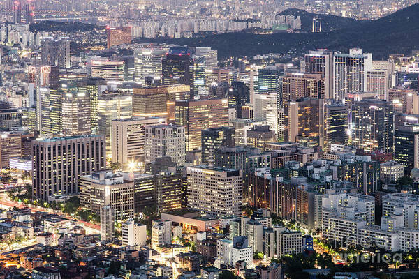 Photograph - A Night View Of Seoul Business District by Didier Marti