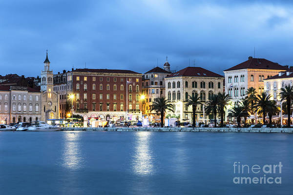 Photograph - A Night View Of Split Old Town Waterfront In Croatia by Didier Marti