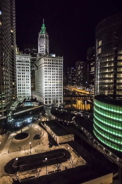 Photograph - A Nighttime Look At Chicago's Wrigley Building by Sven Brogren