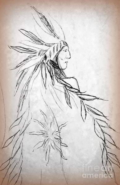 Drawing - A Noble People by Georgia's Art Brush