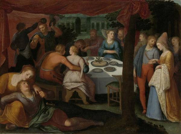 Fashion Plate Painting - A Nocturnal Banquet, 1613 by Otto Van Veen