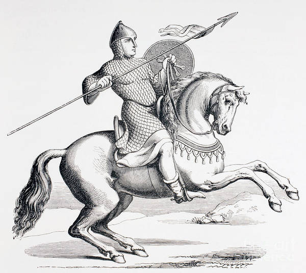 Knights Drawing - A Norman Knight Dressed In Chain Mail And Helmet Carrying Spear And Shield by French School