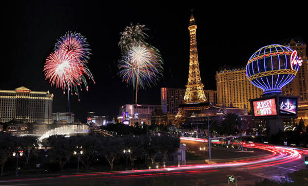 Mirage Digital Art - A Nye Celebration At Bellagio And Las Vegas Blvd, Nevada, Usa by Derrick Neill