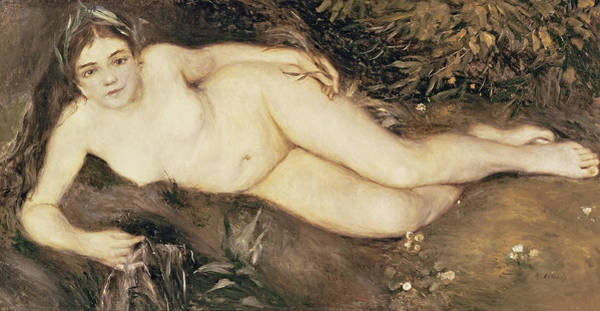 Nymph Painting - A Nymph By A Stream by Pierre Auguste Renoir