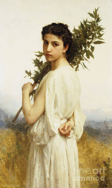Nymph Painting - A Nymph Holding A Laurel Branch by William-Adolphe Bouguereau