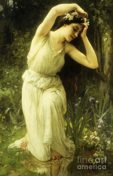 Awakening Painting - A Nymph In The Forest by Charles Amable Lenoir