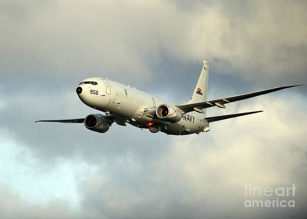 Airborne Photograph - A P-8a Poseidon In Flight by Stocktrek Images