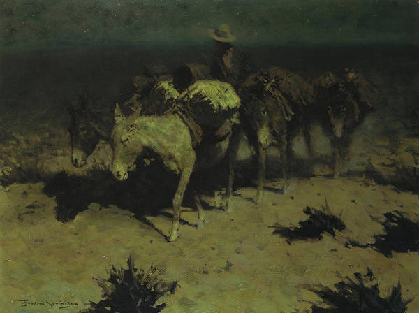 Long Shadow Painting - A Pack Train by Frederic Remington