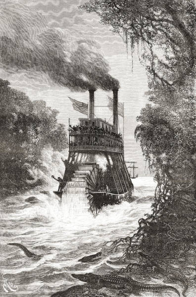 Wall Art - Drawing - A Paddle Steamer In The Primera by Vintage Design Pics