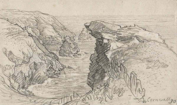 Drawing - A Page From A Cornish Sketchbook - Cornwall 30 by Samuel Palmer