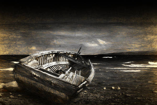 Photograph - A Painterly Photographic Nautical Image Of A Boat Lying Shipwrecked by Randall Nyhof