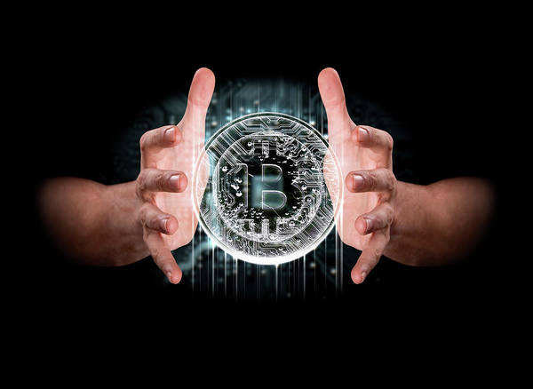 Wall Art - Digital Art - A Pair Of Male Hands Enveloping A Hologram Of A Bitcoin On An Isolated Dark Background by Allan Swart