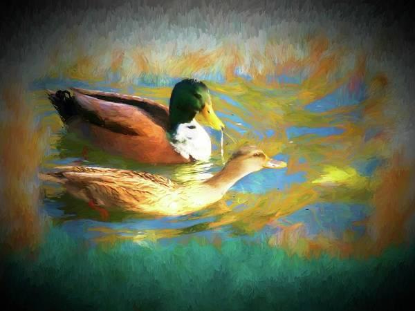 Digital Art - A Pair Of Mallard Ducks by Rusty R Smith