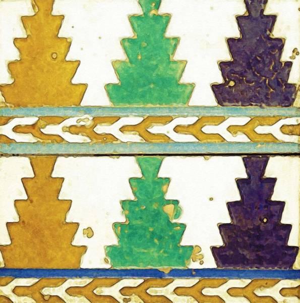 Seamless Painting - A Pair Of Spanish Cuerda Seca Tiles, Spain,, By Adam Asar, No 18a by Adam Asar