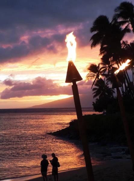 Napili Bay Photograph - A Pair Of Tiki Torches On The Beach, Napili Bay, Maui, Hawaii by Derrick Neill