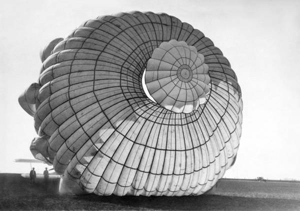 Photograph - A Parachute For Airplanes by Underwood Archives
