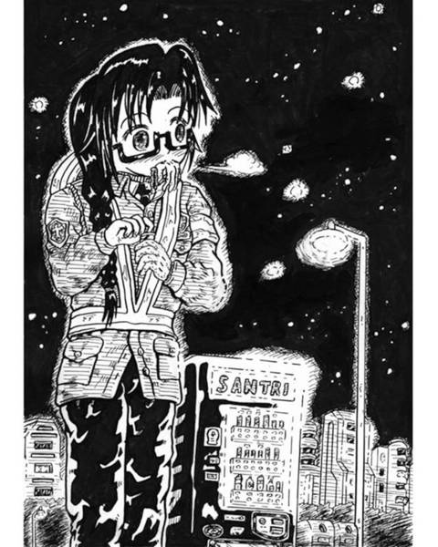 Drawing Drawing - A Part-timer Guard In Winter by Hisashi Saruta