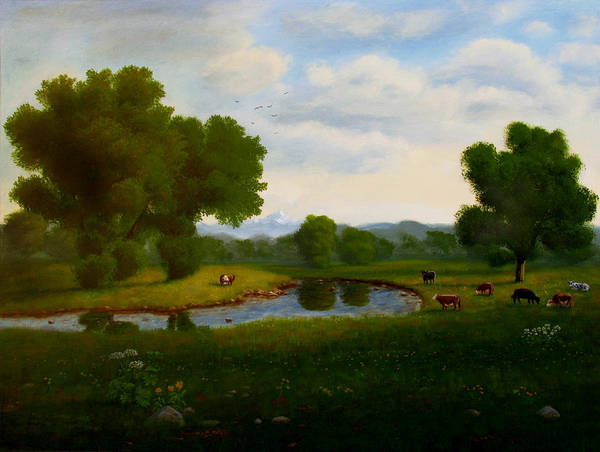 Wall Art - Painting - A Pastoral Landscape by Mark Junge
