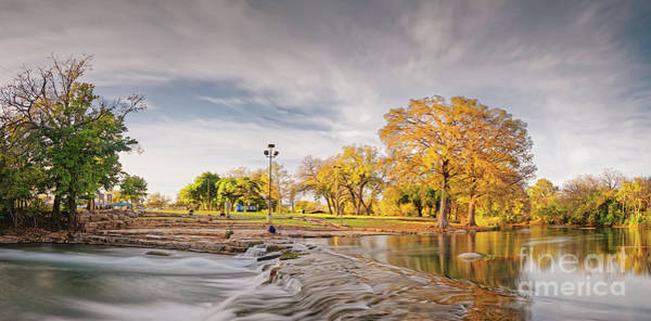 Crooked River Photograph - A Peaceful Fall Afternoon At Rio Vista Dam Park - San Marcos Hays County Texas Hill Country by Silvio Ligutti