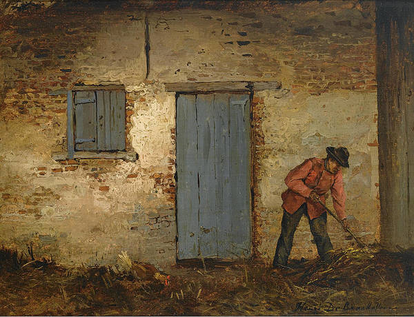 Wall Art - Painting - A Peasant At Work In Front Of A Farmhouse by Henri de Braekeleer