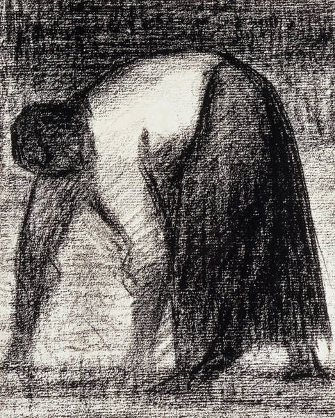 Maid Drawing - A Peasant Woman With Hands In The Ground by Georges Pierre Seurat