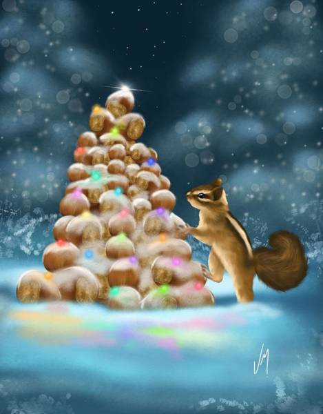 Fantasy Book Painting - A Perfect Christmas Tree by Veronica Minozzi