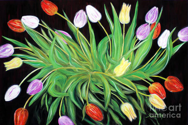 Painting - A Perfect Gift Of Colorful Tulips by Oksana Semenchenko