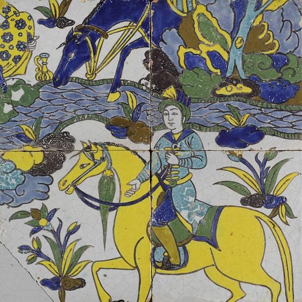 Seamless Painting - A Persian Polychrome Cuerda Seca Tile Panel , Safavid, Circa Late 17th Century, By Adam Asar, No 18 by Adam Asar