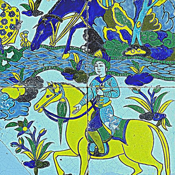 Seamless Painting - A Persian Polychrome Cuerda Seca Tile Panel , Safavid, Circa Late 17th Century, By Adam Asar, No 18c by Adam Asar