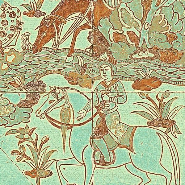 Seamless Painting - A Persian Polychrome Cuerda Seca Tile Panel , Safavid, Circa Late 17th Century, By Adam Asar, No 18f by Adam Asar