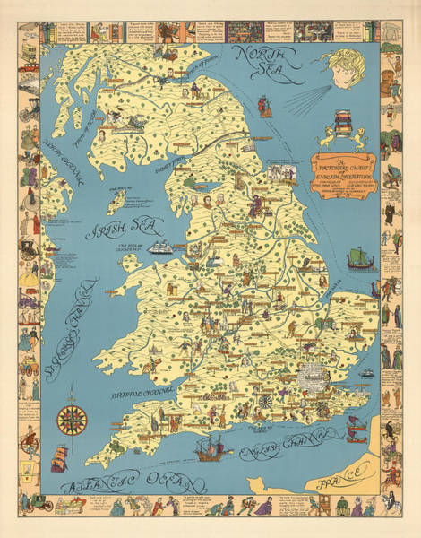 Wall Art - Drawing - A Pictorial Chart Of English Literature - Illustrated Map - Pictorial Map - English Literature by Studio Grafiikka