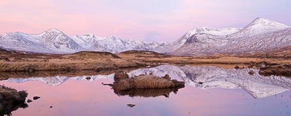 Photograph - A Pink Rannoch Moor Panorama by Stephen Taylor