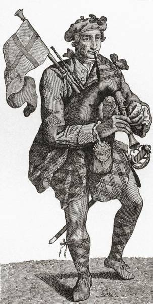 Bagpipe Wall Art - Drawing - A Piper In The Highland Regiment In The by Vintage Design Pics