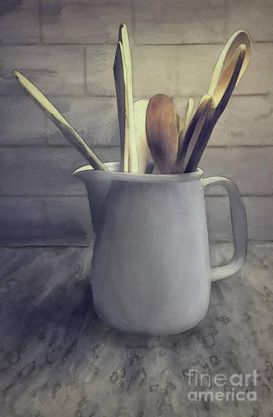 Wooden Spoon Digital Art - A Pitcher Of Spoons by Lois Bryan