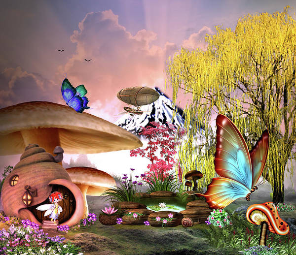 Digital Art - A Pixie Garden by Artful Oasis