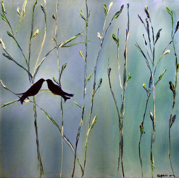 Lovebird Painting - A Place For Us by Dolores Deal