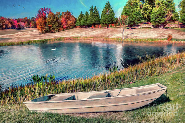 Country Club Painting - A Pleasant Autumn Day On The Lake Ap by Dan Carmichael