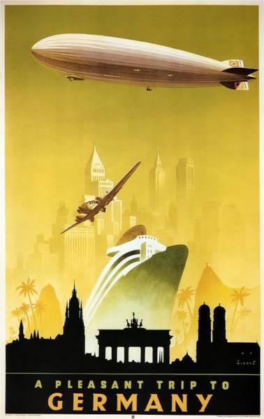 Office Decor Mixed Media - A Pleasant Trip To Germany - Airship, Aircraft, Ship - Retro Travel Poster - Vintage Poster by Studio Grafiikka