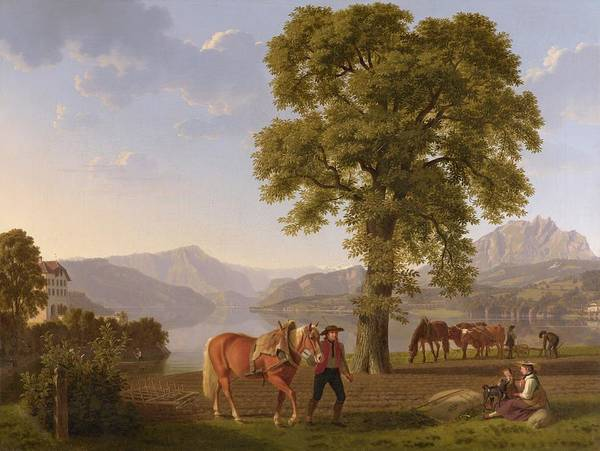 Winterthur Wall Art - Painting - A Ploughman With His Horse Lake Lucerne by MotionAge Designs