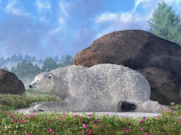Digital Art - A Polar Bear In Spring by Daniel Eskridge