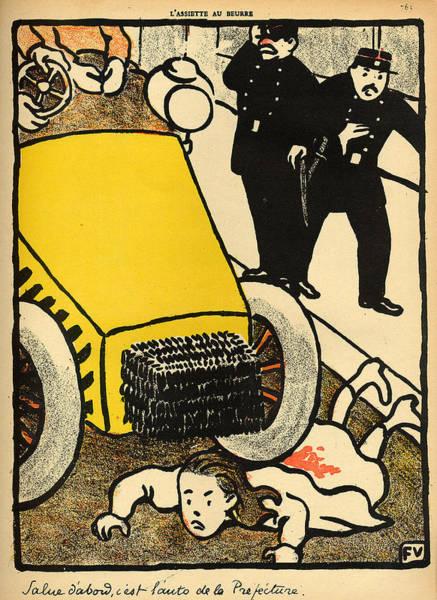 Edition Painting - A Police Car Runs Over A Little Girl by Felix Edouard Vallotton