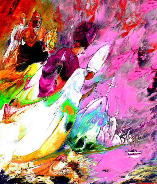 Painting - A Pope And His Cardinals by Miki De Goodaboom