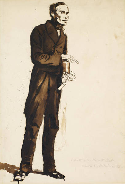 Drawing - A Porter To The Hogarth Club by William Holman Hunt