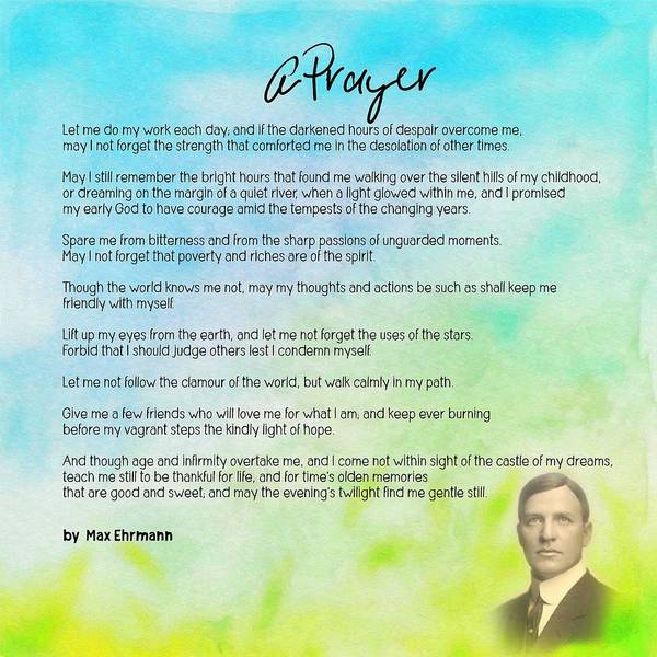 Painting - A Prayer By Max Ehrmann V1 by Adam Asar