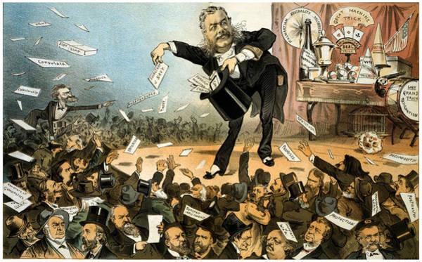 Caricature Mixed Media - A Presidential Conjuror - President Arthur - Vintage Political Poster by Studio Grafiikka