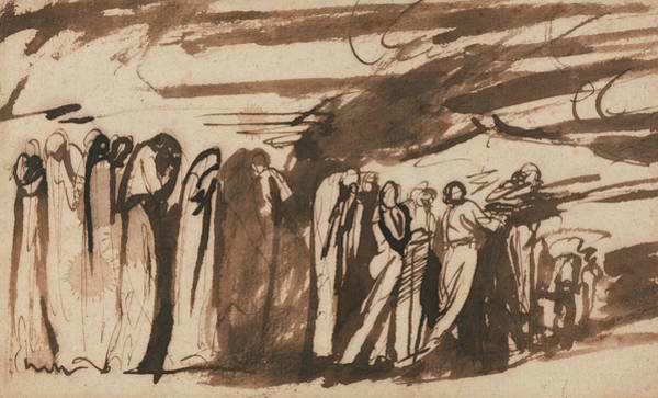 Wall Art - Drawing - A Procession Of The Damned by George Romney