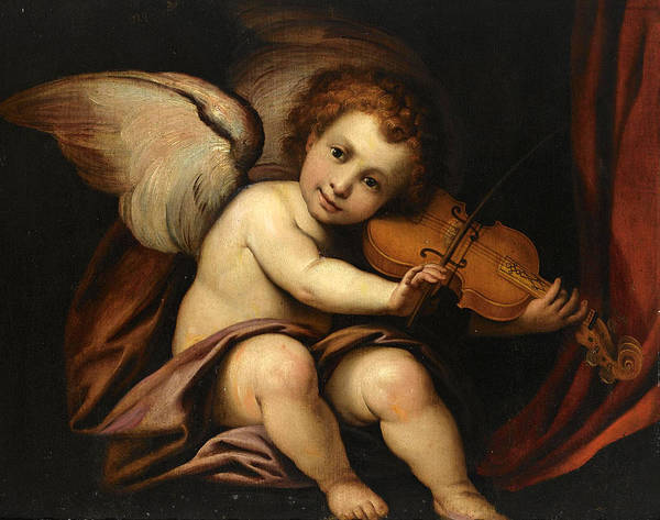 Cesare Painting - A Putto Playing The Violin by Manner of Giulio Cesare Procaccini