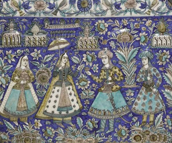 Seamless Painting - A Qajar Moulded Polychrome Pottery Tile, Persia, 19th Century, By Adam Asar, No 18 by Adam Asar